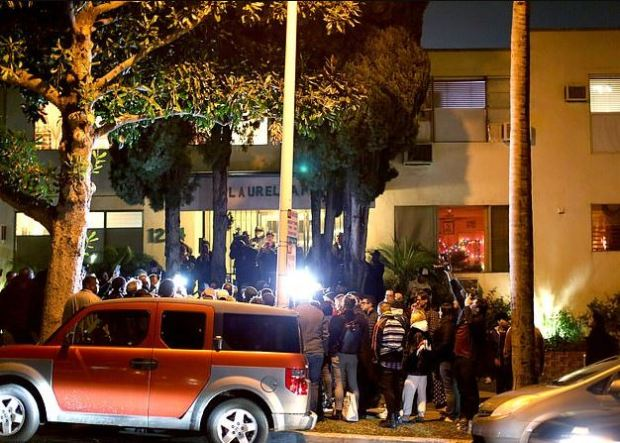 Protesters outside Ed Buck's West Hollywood, CA apt building after Dean's death in January 2019