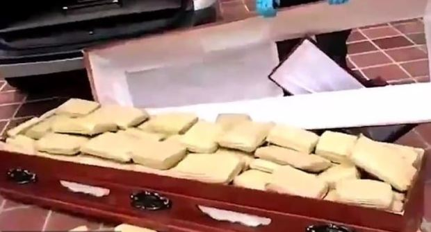 Colombian police discover cannabis haul hidden in a coffin 2