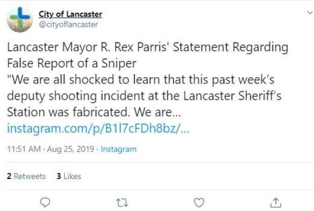 Lancaster Mayor R. Rex Parris' Statement Regarding False Report of a Sniper.JPG