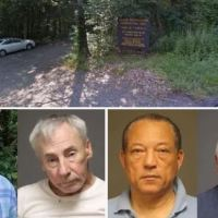 Five elderly men and an 85-year-old woman are arrested for having public sex in a Connecticut woodland - after cops catch the amorous seniors during a crackdown on the popular hookup spot