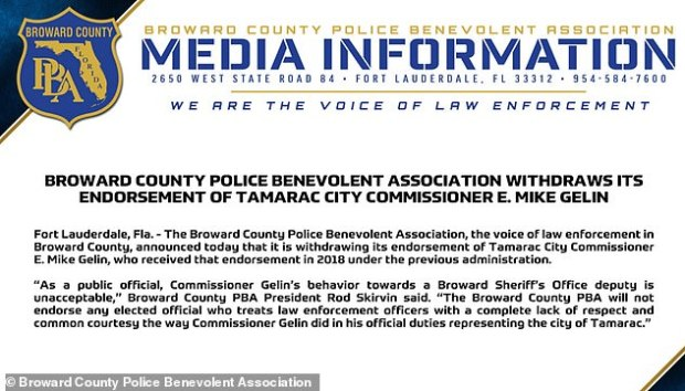Broward County's police union withdrew prior endorsement of Comm E. Mike Gelin 1