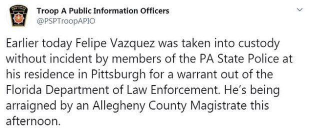PIttsburgh police  statement on Felipe Vasquez arrest 1.jpg