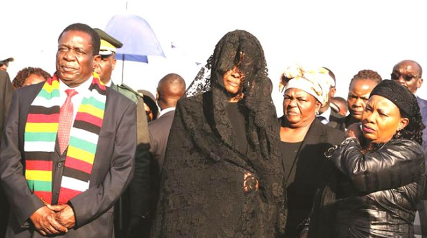 President Emmerson Mnangagwa, First Lady Auxillia Mnangagwa and former First Lady Grace Mugabe (centre) 1.jpg
