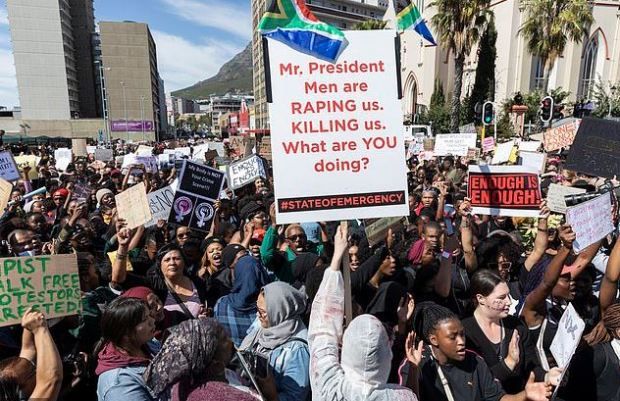 Protesters outside Parliament in cape Town, SA over assault crimes 2