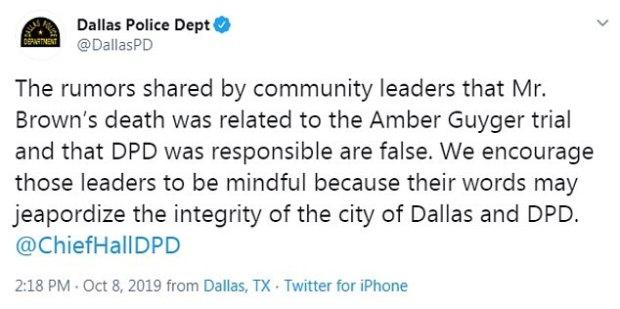 Dallas police tweet on death of Joshua Brown 1