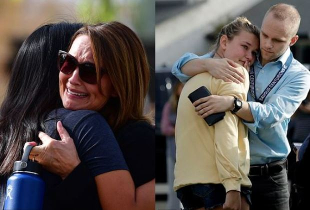 Anxious parents unite with their children after the shooting at Saugus High School in Santa Clarita, California on Nov 14, 2019 6