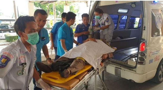 Thai policeman injured as Bart Allen Helmus made his escape from courthouse in Thailand 1.JPG