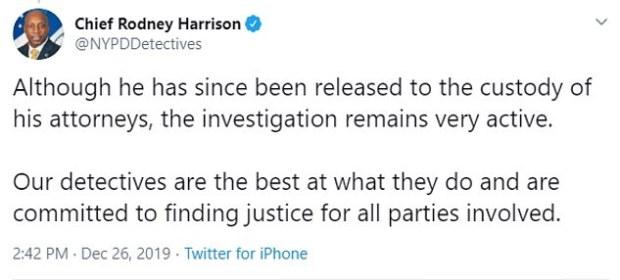 Tweet by NYPD Chie Rodney Harrison on Tessa Majors murder 4.jpg