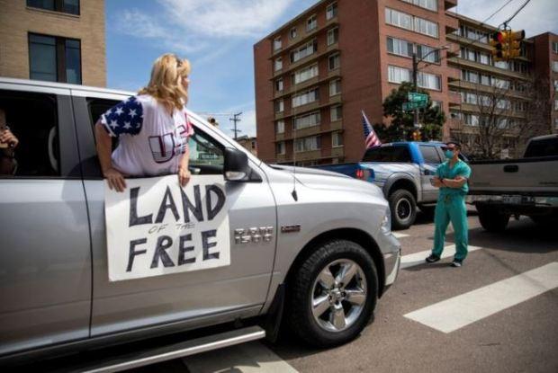 Anti-Covid lockdown protests in Denver 1