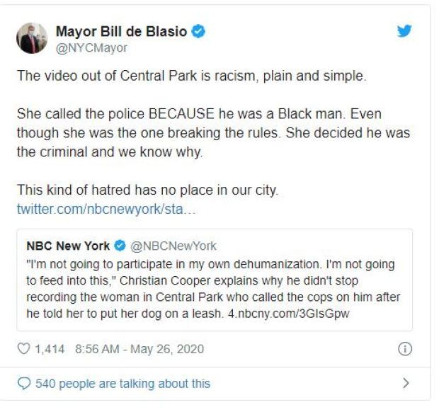 Bill del Blasio comments on Central Park incident 1