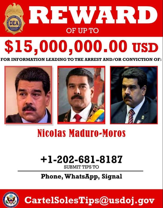 DEA wanted poster for-Vincent Maduro 2