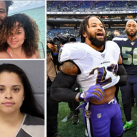 Errant star trouble? Wife of NFL star Earl Thomas charged after she 'held him at gunpoint when she found him naked in bed at an Airbnb with several women and his brother after a night out'