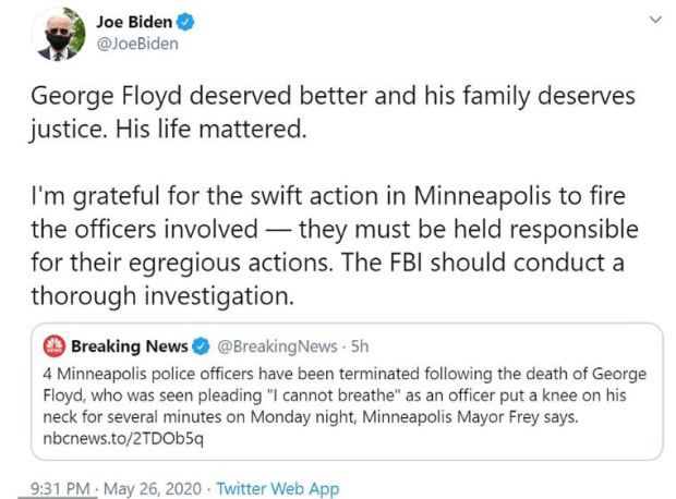 Joe Biden tweet on George Floyd killing 1