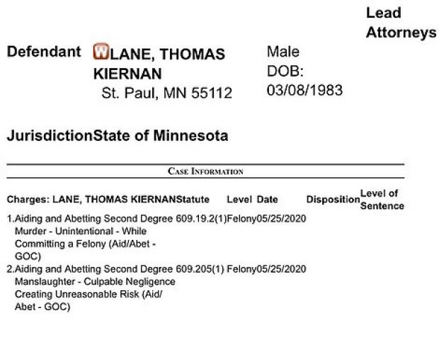Charges against Thomas Lane 1