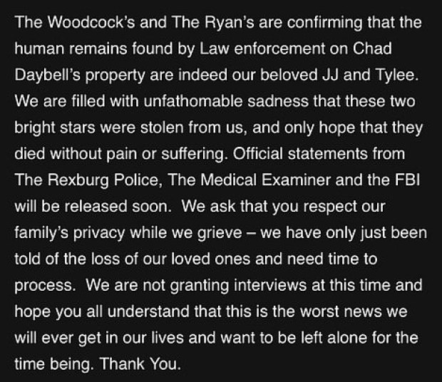 Woodcock and Ryan families joint statement on the death of Tylee Ryan and Joshua JJ Vallow 1