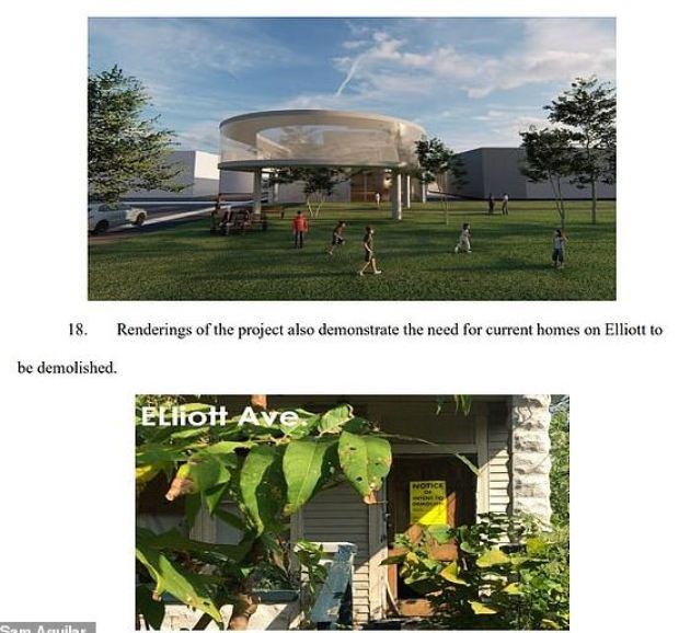 A page from the family's lawsuit highlights renderings that show homes on Elliott Avenue 'to be demolished' is part of the $30million redevelopment plan of the area