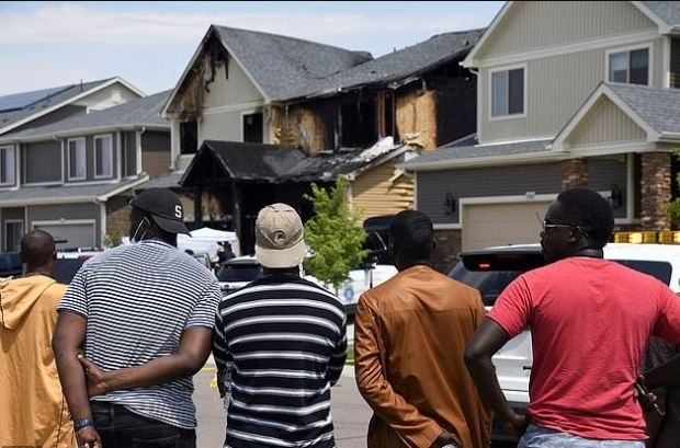 Members of Senegalese community watch debacle after targeted Arson at Denver home of African immigrants 1