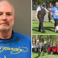 Man, 57, enraged by 'yuppies with dogs', is charged with multiple counts of attempted murder after plowing his pickup truck into group of ten people having a picnic in Chicago, while mouthing racist epithets, injuring two