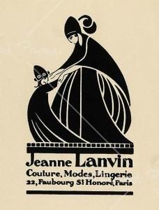 Das Lanvin-Logo, gemalt von Paul Iribe, das Jeanne Lanvin und ihre Tochter darstellen soll, schmückt seit 1927 die Flasche des Parfüms Arpège und ist damit ein früher Versuch, Frauen als Mütter anzusprechen.