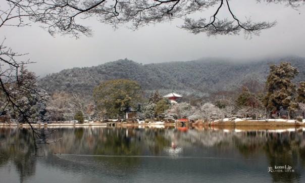 京都 大覚寺 大沢池 雪 心経宝塔