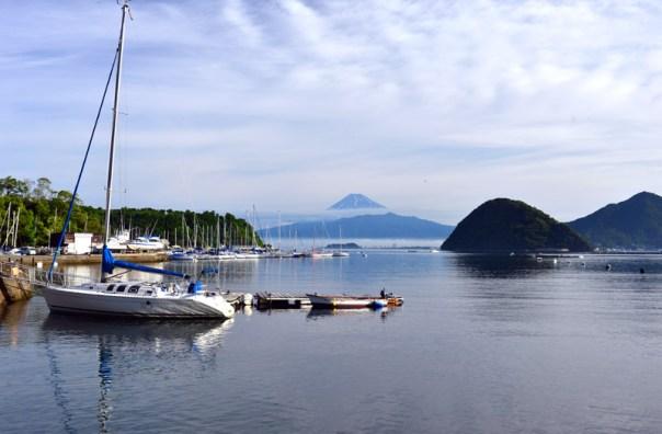 伊豆半島から見える富士山 西伊豆 ヨット