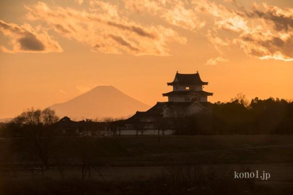 関宿城 富士山 夕暮れ