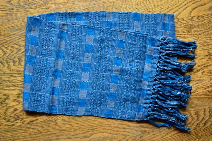 "7. $30.00 Measure: 9"" x 60"" (plus fringe) Very Soft. Hand washable. Amount available: 1 unit From San Juan la Laguna, Sololá. Woven by Tz'utujil-Maya women, of Asociación Comunitaria Ixoq Ajkeem. Products are made with natural dyes with the women themselves staining the raw threads with colors extracted from carrots, allspice, fuchsia, annatto seed, avocado leaves, sacatinta, hilamo, guachipilin, and St. John's Wort among others."