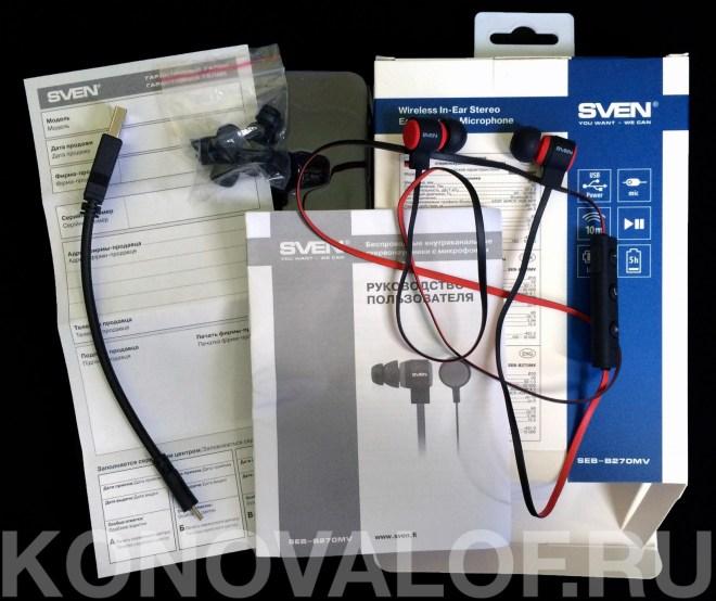 В комплекте с гарнитурой имеется пара сменных амбушюров, шнур MicroUSB для зарядки, прищепка для крепления провода к одежде, а также гарантийный талон и инструкция