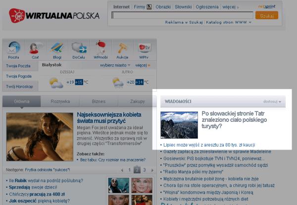 wp.pl Znaleziono ciało w Tatrach