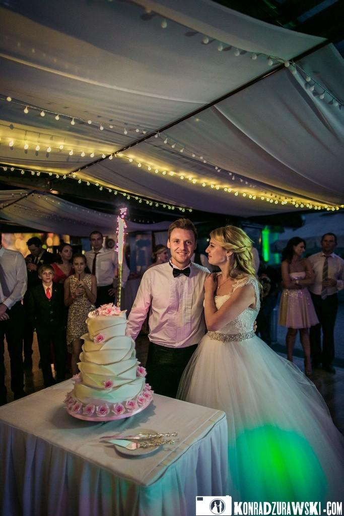Przyszedł czas na tort weselny - ślub w Pałacu Wojanów   Konrad Żurawski