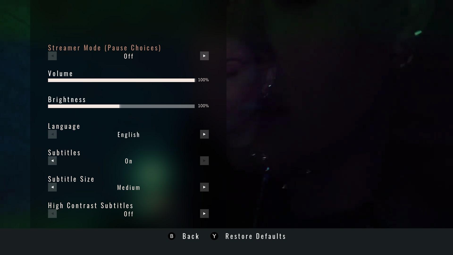 Interfejs ustawień w grze I Saw Black Clouds