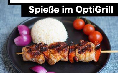 Schaschlik-Spieße mit Schweinefilet und Bacon im Tefal OptiGrill