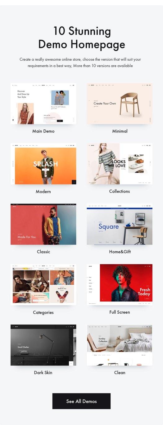Konte WordPress theme demos