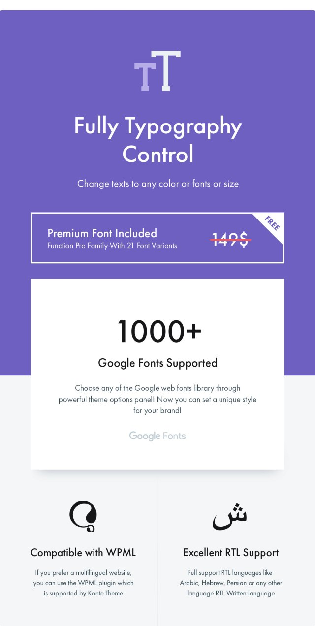 Konte WooCommerce theme - Premium fonts included