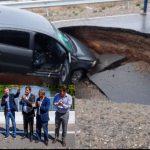 Se hundió la Ruta 7 en Neuquén recientemente inaugurada por Macri y Dietrich