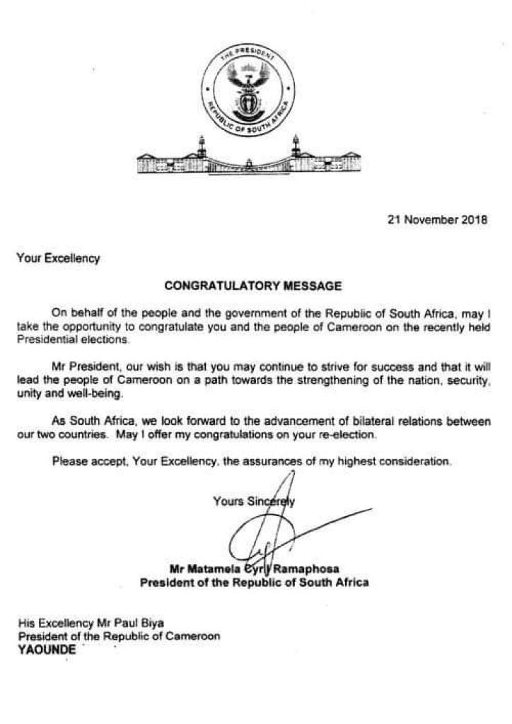 Congratulatory Letter from the President of South Africa