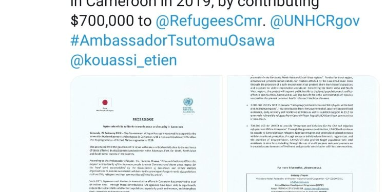 Japan donates $700,000 to IDP and Refugees in UNHCR Cameroon