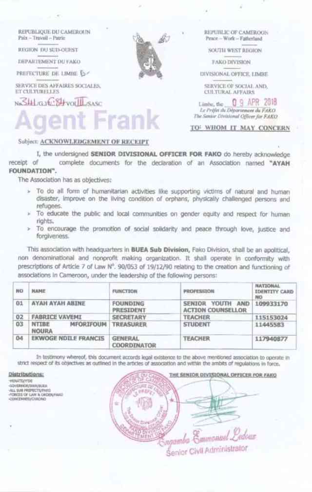 """Document showing that Ayah """"Foundation"""" was actually registered in Apr 2018 as an Association"""