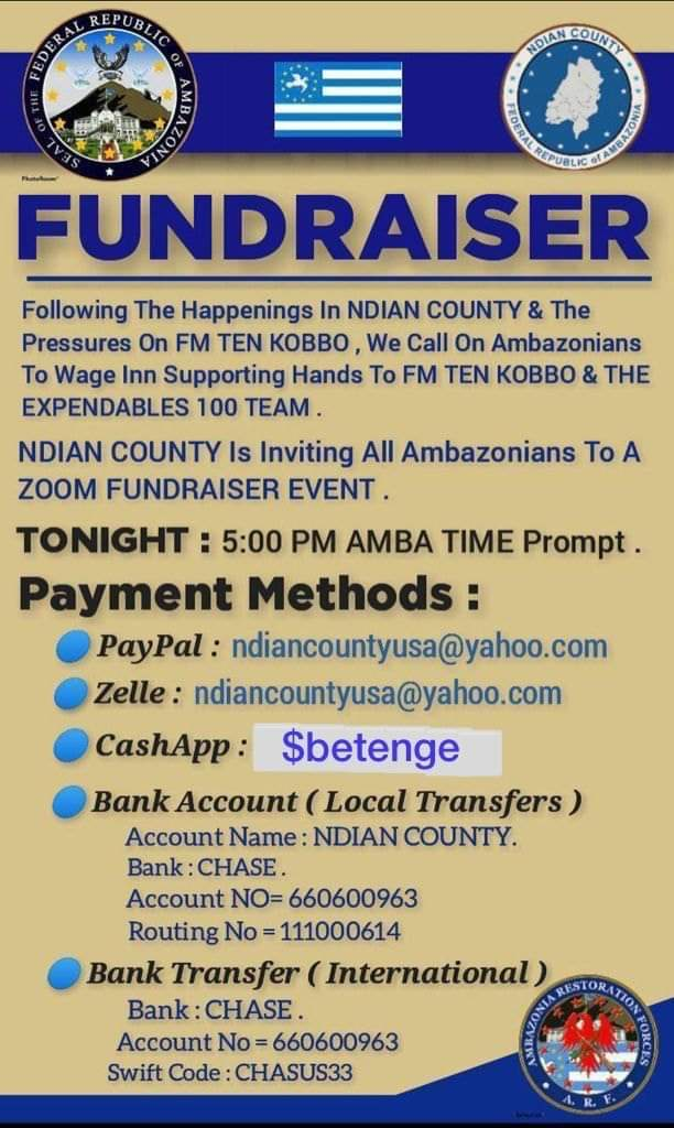 """Flyer produced to raise money to support the Amba terrorist Kidnappers, """"TEN KOBBO"""""""