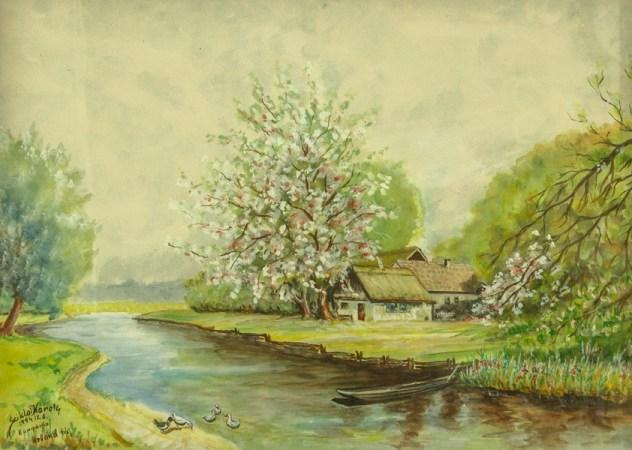 Holland tanya meggyfa virágzás idején