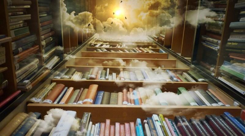 könyvek felhőkkel madarakkal