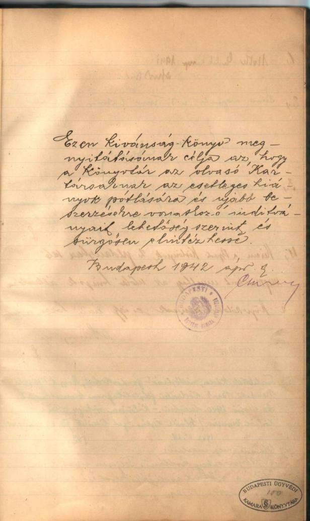 Vendégkönyv nyitólap (1942)