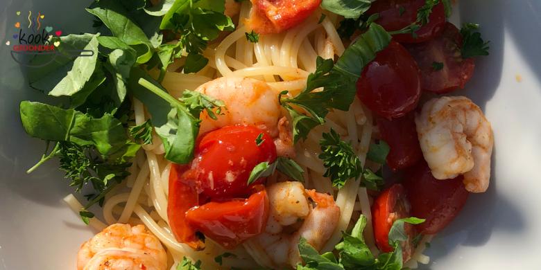 Spaghetti met pittige garnalen
