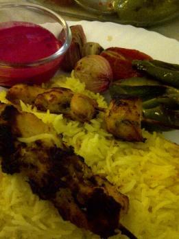 Joojeh Kebabs with Grilled Vegetables and Beetroot Yoghurt