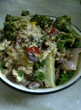 Warm Salad of Barley, Beans and Vegetables in Garlicky Dressing