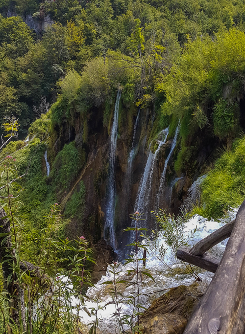 The view on amazing waterfalls from one of the boardwalk in Plitvice Lakes