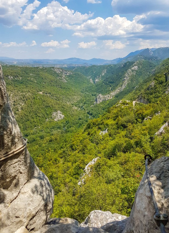 Green scenery above the canyon of the river Cetina