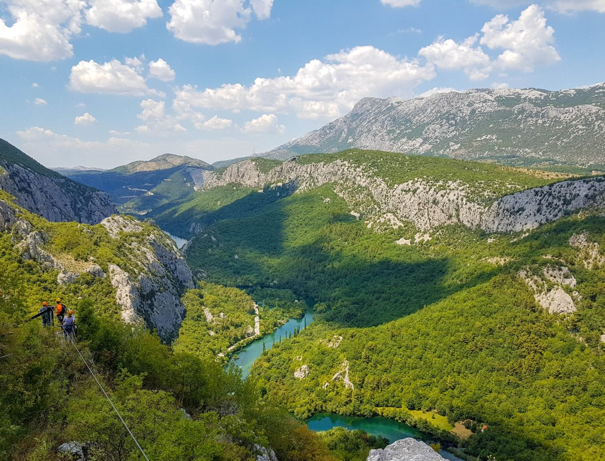 The view on Cetina river and Zipline wire