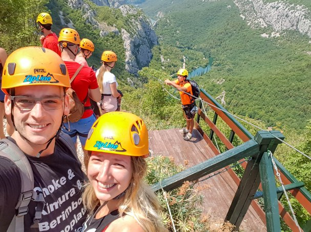 Waiting to do Zipline in Omis with the group