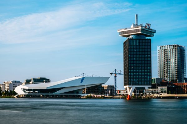 The view on Eye Filmmuseum and A'DAM tower